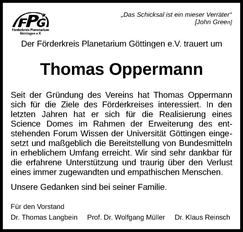 Traueranzeige für Thomas Oppermann vom 04.11.2020 aus Göttinger Tageblatt