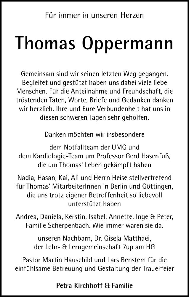 Traueranzeige für Thomas Oppermann vom 14.11.2020 aus Göttinger Tageblatt