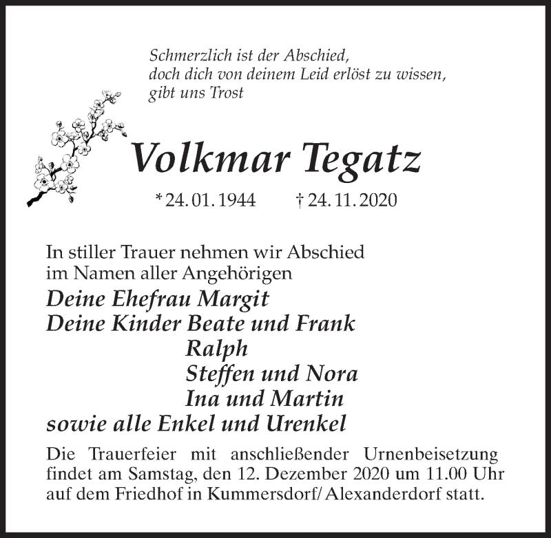 Traueranzeige für Volkmar Tegatz vom 28.11.2020 aus Märkischen Allgemeine Zeitung