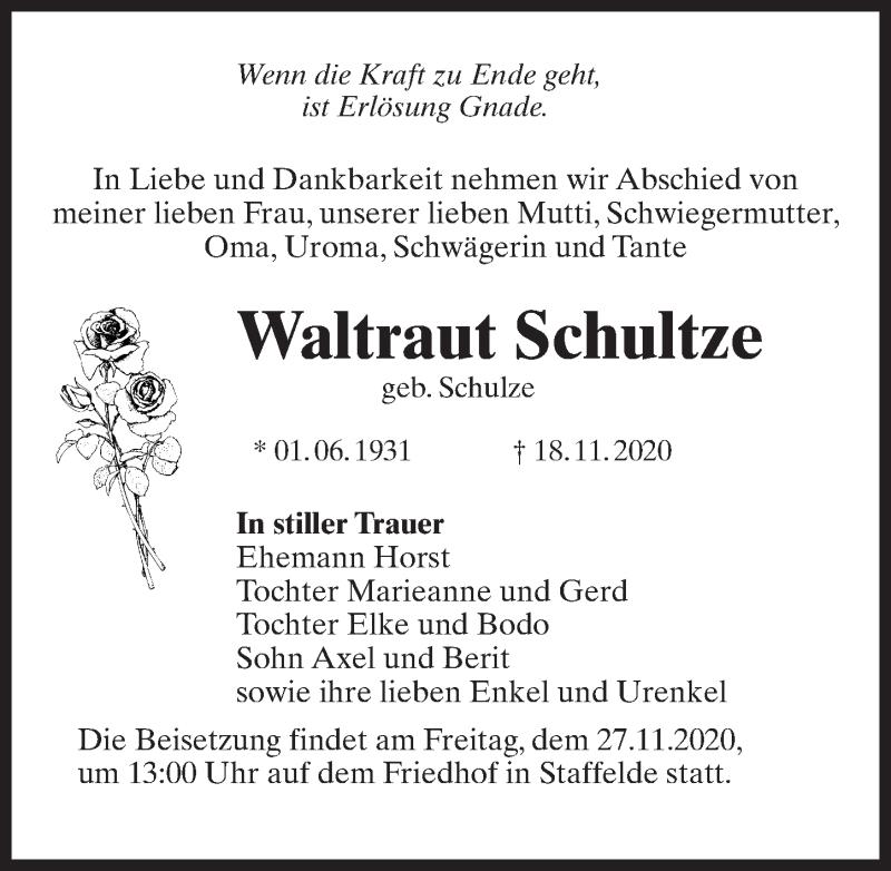 Traueranzeige für Waltraut Schultze vom 21.11.2020 aus Märkischen Allgemeine Zeitung