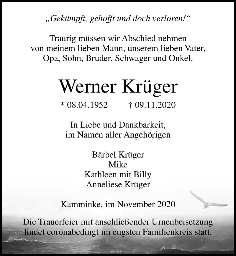 Traueranzeige für Werner Krüger vom 14.11.2020 aus Ostsee-Zeitung GmbH