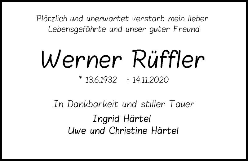 Traueranzeige für Werner Rüffler vom 17.11.2020 aus Peiner Allgemeine Zeitung