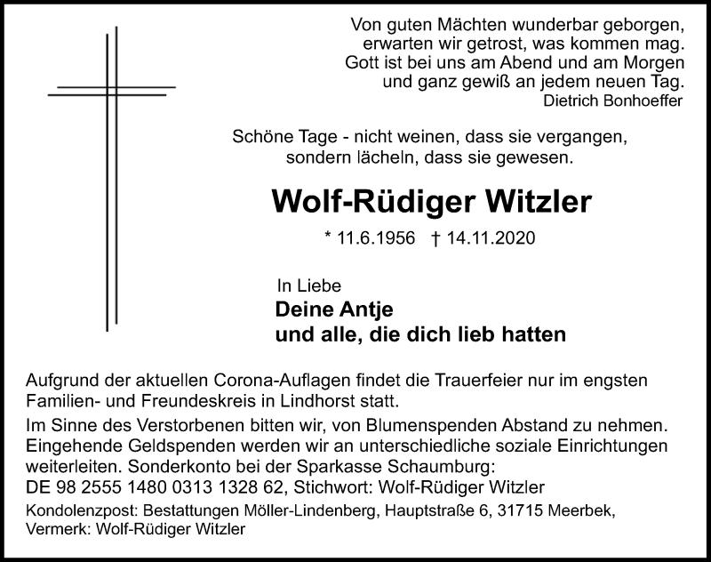 Traueranzeige für Wolf-Rüdiger Witzler vom 18.11.2020 aus Schaumburger Nachrichten