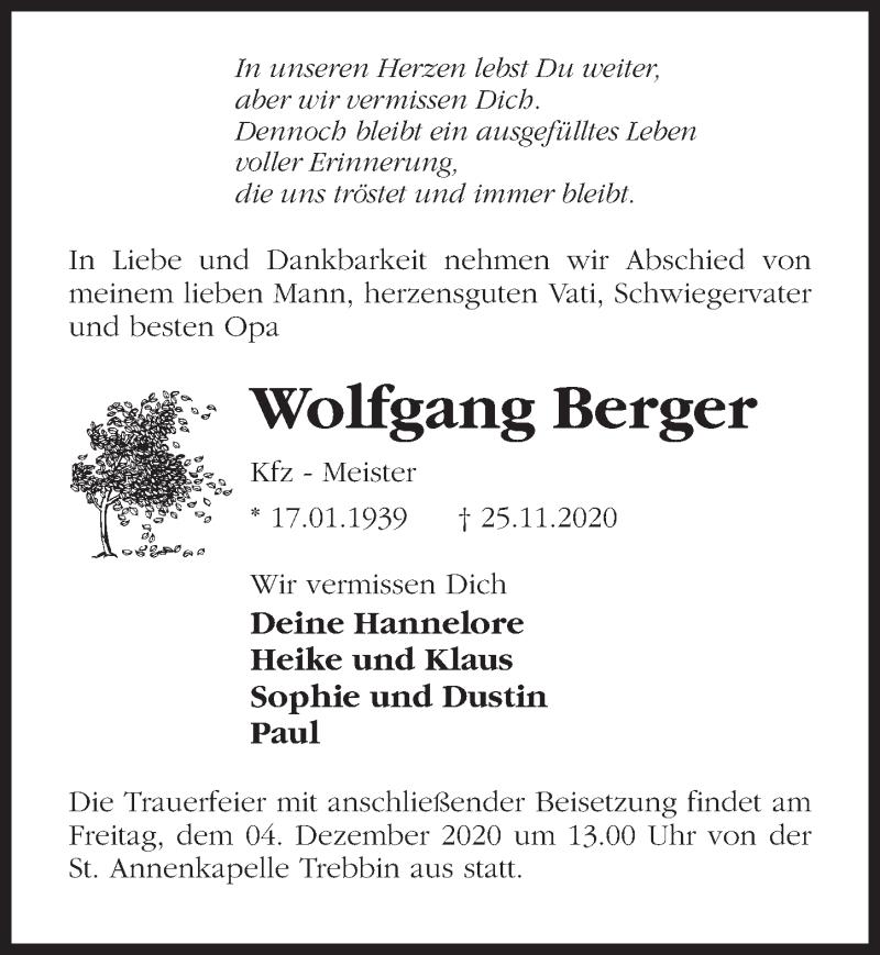 Traueranzeige für Wolfgang Berger vom 28.11.2020 aus Märkischen Allgemeine Zeitung