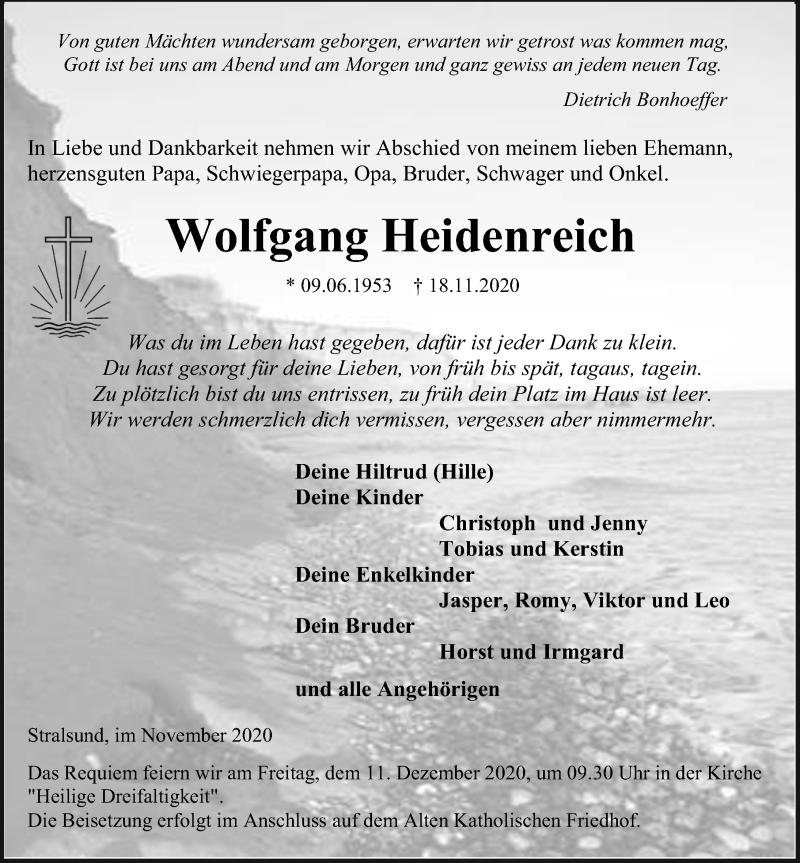 Traueranzeige für Wolfgang Heidenreich vom 21.11.2020 aus Ostsee-Zeitung GmbH