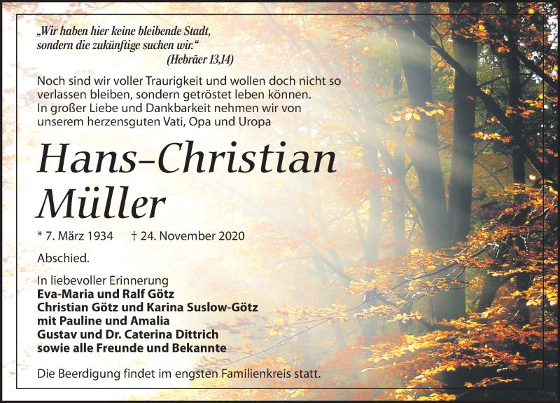 Traueranzeige für Hans-Christian Müller vom 28.11.2020 aus Leipziger Volkszeitung
