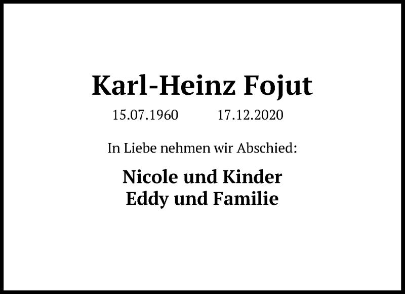 Traueranzeige für Karl-Heinz Fojut vom 21.12.2020 aus Kieler Nachrichten