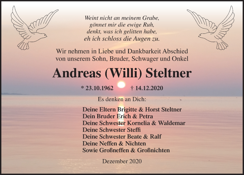 Traueranzeige für Andreas Steltner vom 24.12.2020 aus Ostsee-Zeitung GmbH