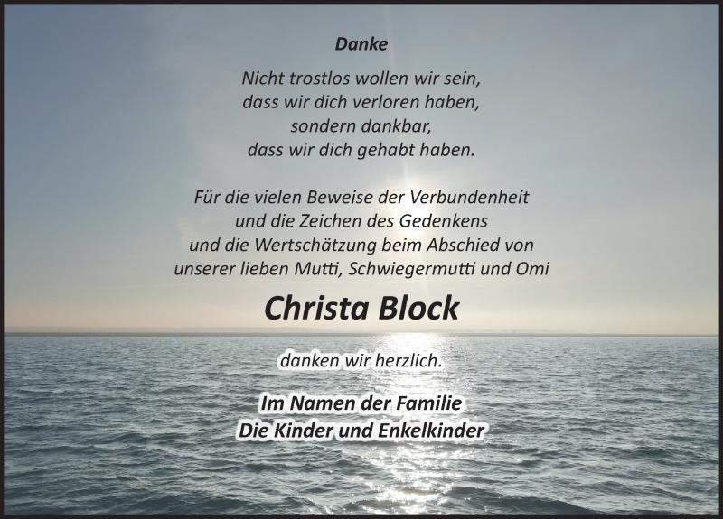 Traueranzeige für Christa Block vom 24.12.2020 aus Ostsee-Zeitung GmbH