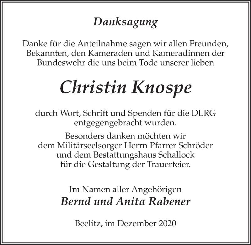 Traueranzeige für Christin Knospe vom 19.12.2020 aus Märkischen Allgemeine Zeitung