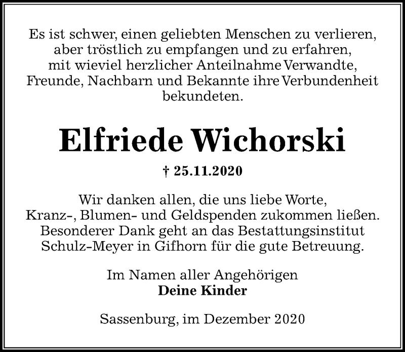 Traueranzeige für Elfriede Wichorski vom 19.12.2020 aus Aller Zeitung