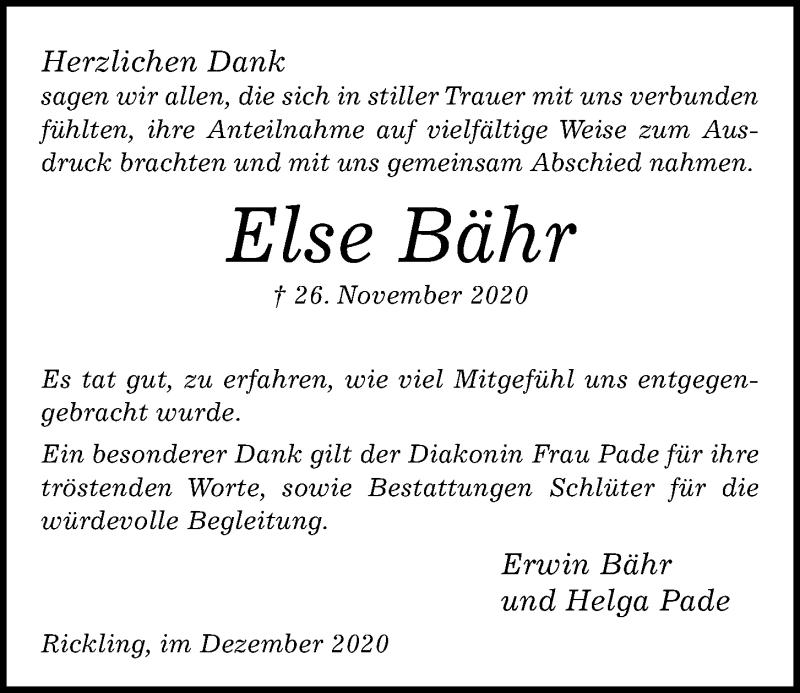 Traueranzeige für Else Bähr vom 24.12.2020 aus Kieler Nachrichten