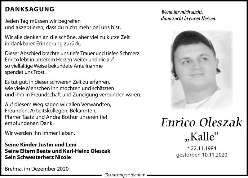 Traueranzeige für Enrico Oleszak vom 19.12.2020 aus Leipziger Volkszeitung