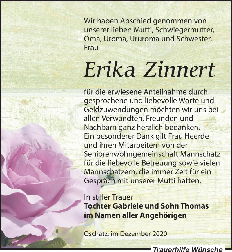 Traueranzeige für Erika Zinnert vom 19.12.2020 aus Leipziger Volkszeitung