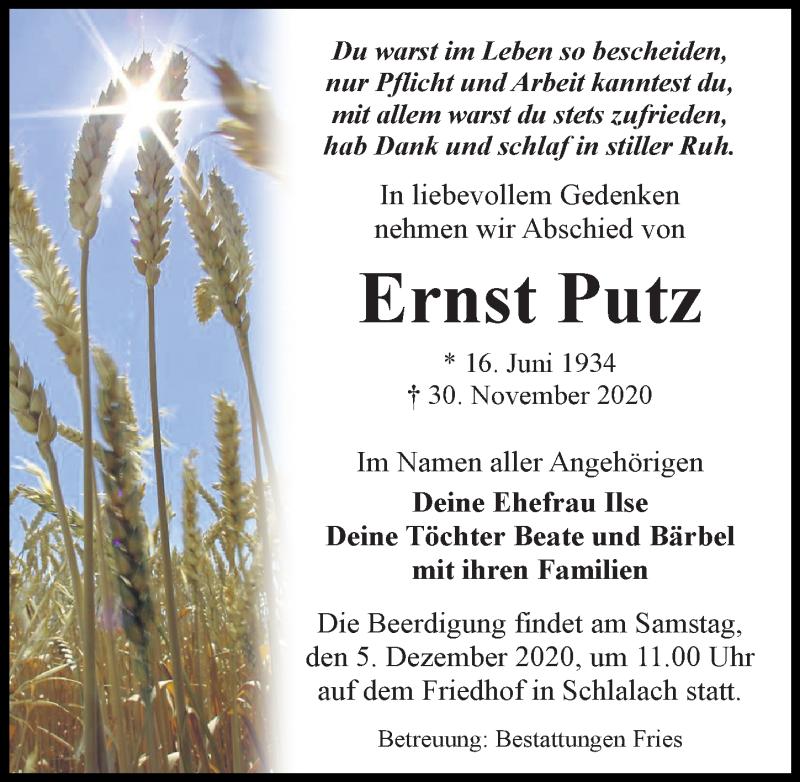 Traueranzeige von  Ernst Putz