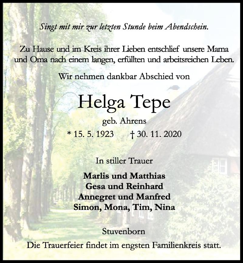 Traueranzeige von  Helga Tepe