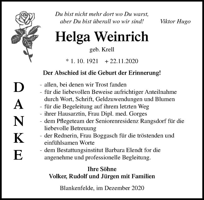 Traueranzeige für Helga Weinrich vom 23.12.2020 aus Märkischen Allgemeine Zeitung