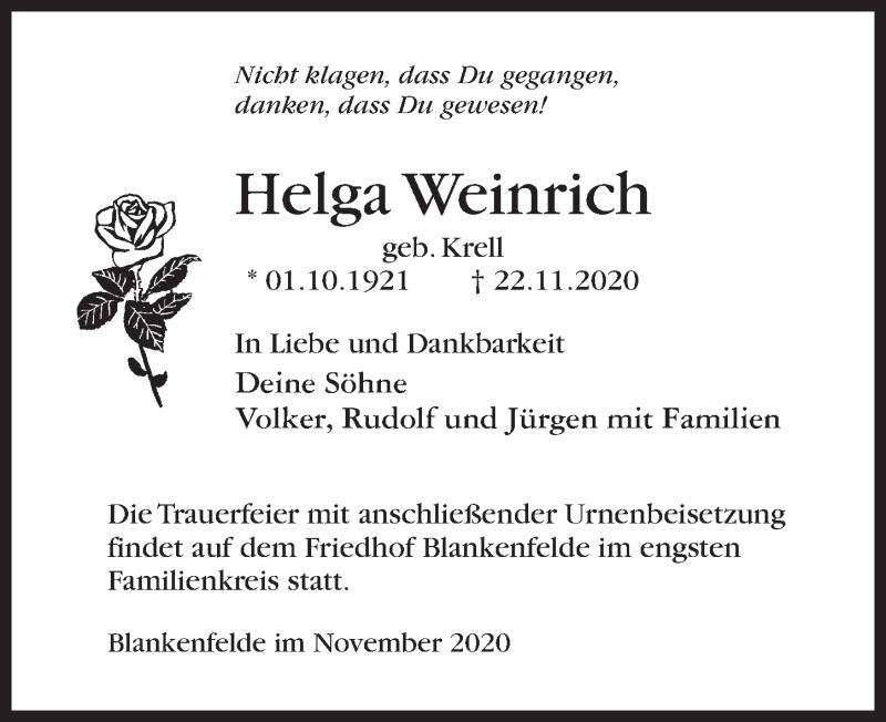 Traueranzeige für Helga Weinrich vom 05.12.2020 aus Märkischen Allgemeine Zeitung