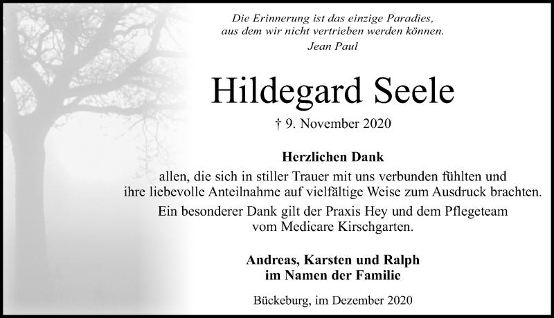 Traueranzeige für Hildegard Seele vom 05.12.2020 aus Schaumburger Nachrichten