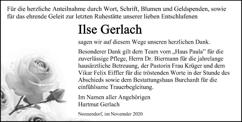 Traueranzeige für Ilse Gerlach vom 05.12.2020 aus Ostsee-Zeitung GmbH