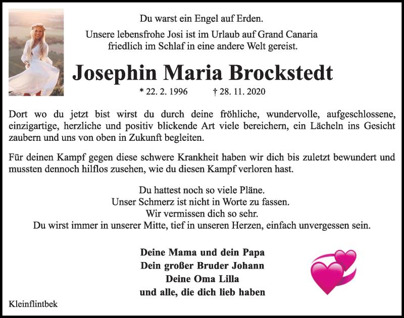 Traueranzeige für Josephin Maria Brockstedt vom 05.12.2020 aus Kieler Nachrichten