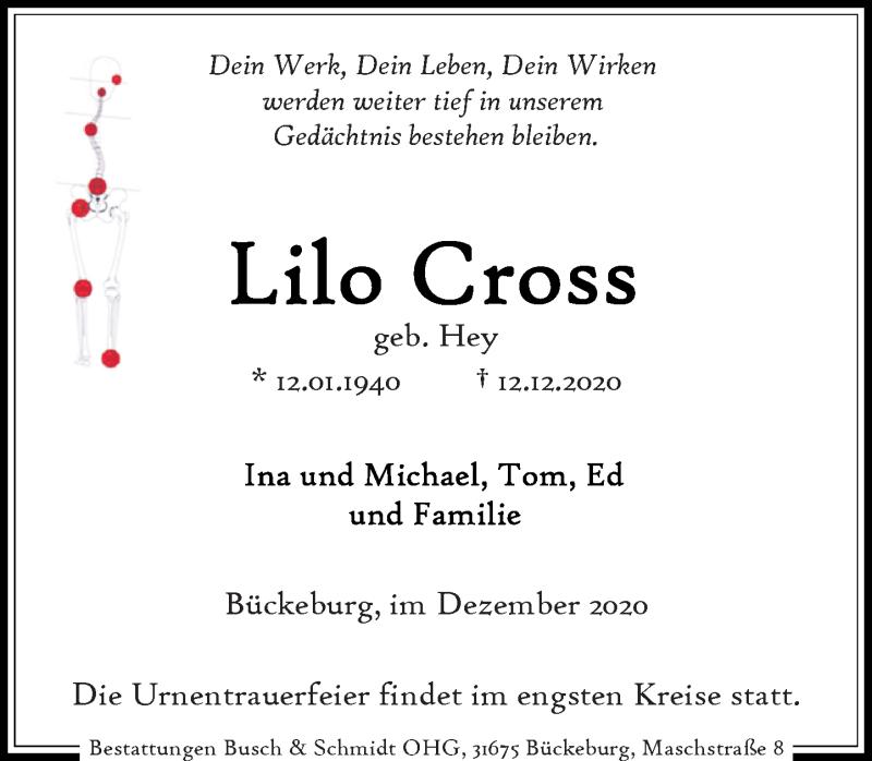Traueranzeige für Lilo Cross vom 16.12.2020 aus Schaumburger Nachrichten