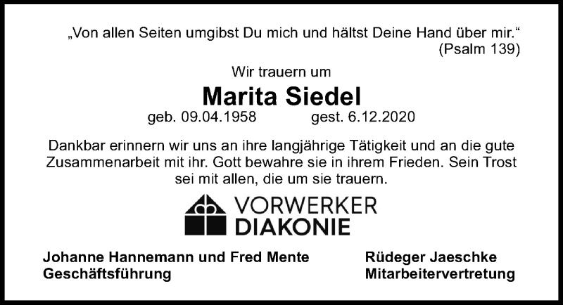 Traueranzeige für Marita Siedel vom 13.12.2020 aus Lübecker Nachrichten