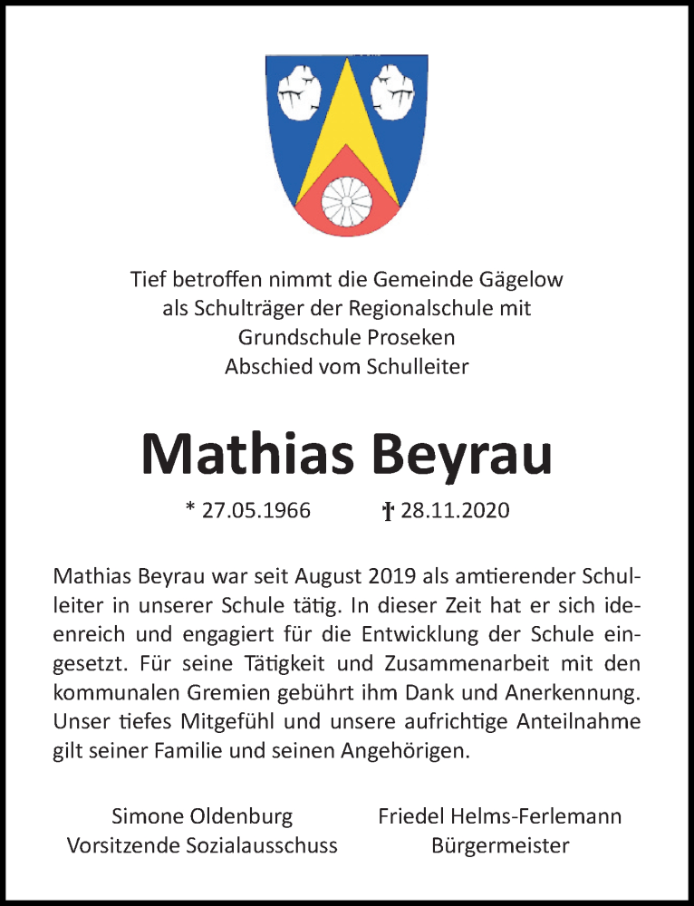 Traueranzeige für Mathias Beyrau vom 03.12.2020 aus Ostsee-Zeitung GmbH