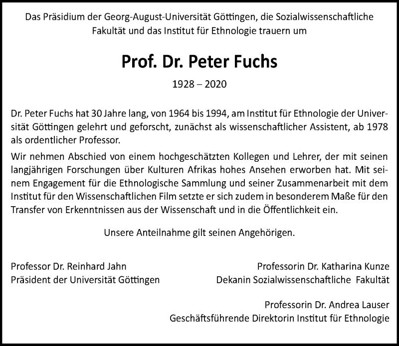 Traueranzeige für Peter Fuchs vom 05.12.2020 aus Göttinger Tageblatt