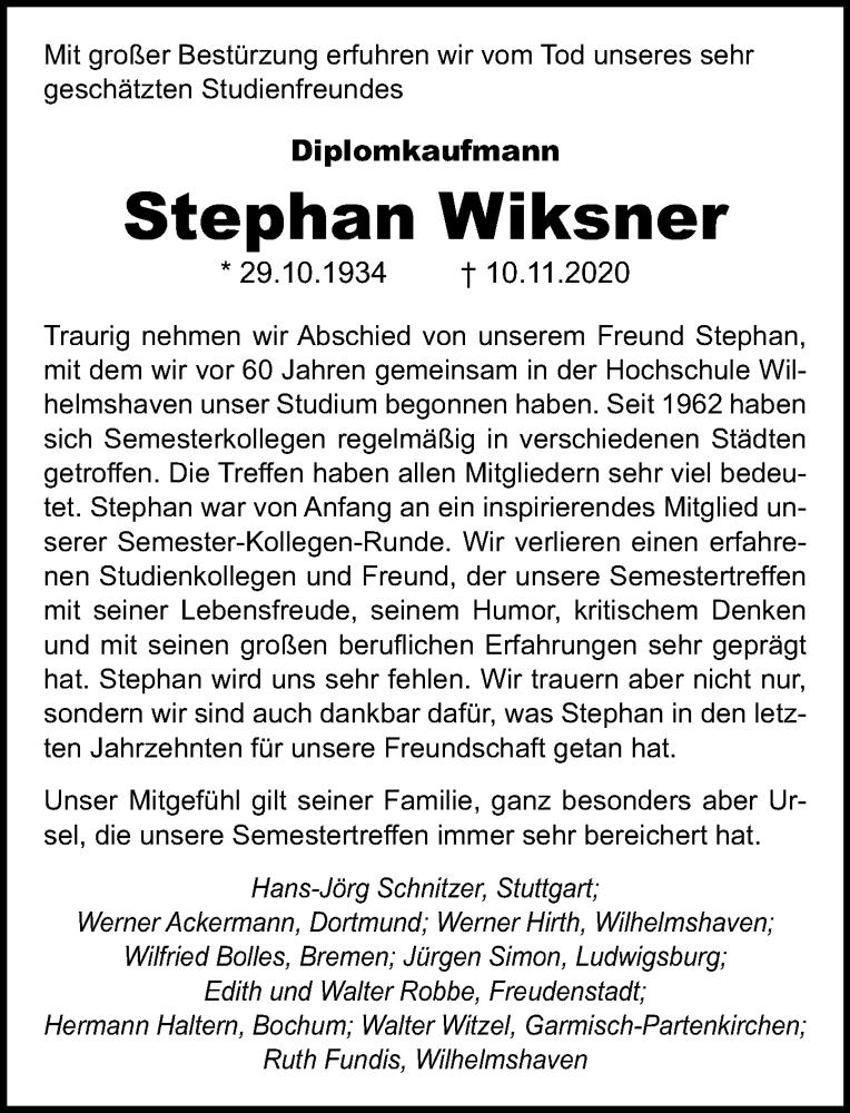 Traueranzeige für Stephan Wiksner vom 01.12.2020 aus Schaumburger Nachrichten