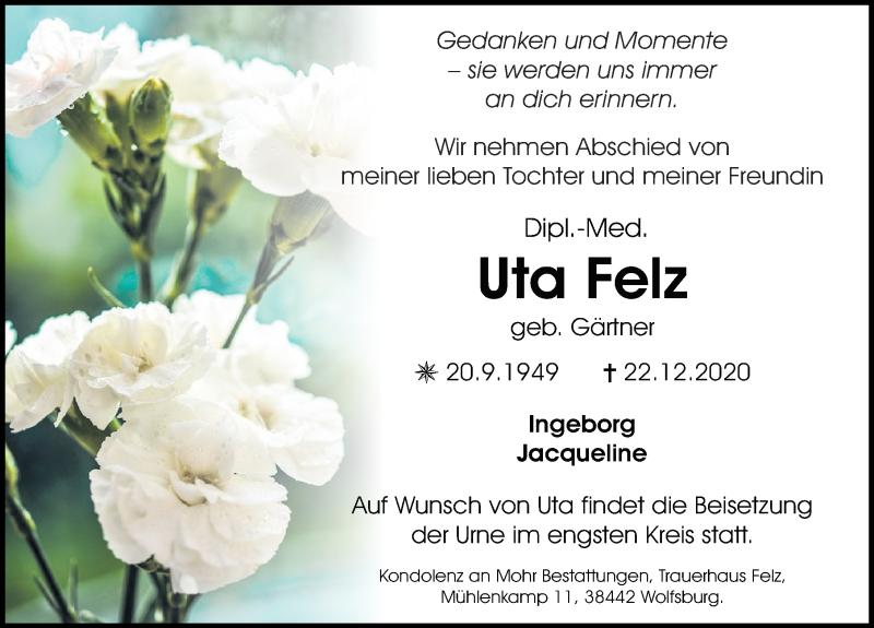Traueranzeige für Uta Felz vom 30.12.2020 aus Aller Zeitung