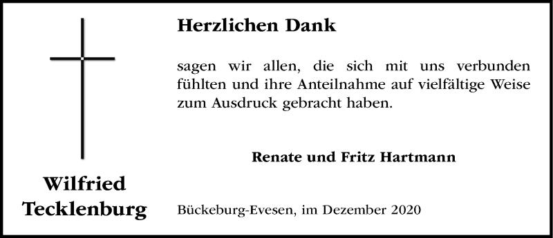 Traueranzeige für Wilfried Tecklenburg vom 12.12.2020 aus Schaumburger Nachrichten