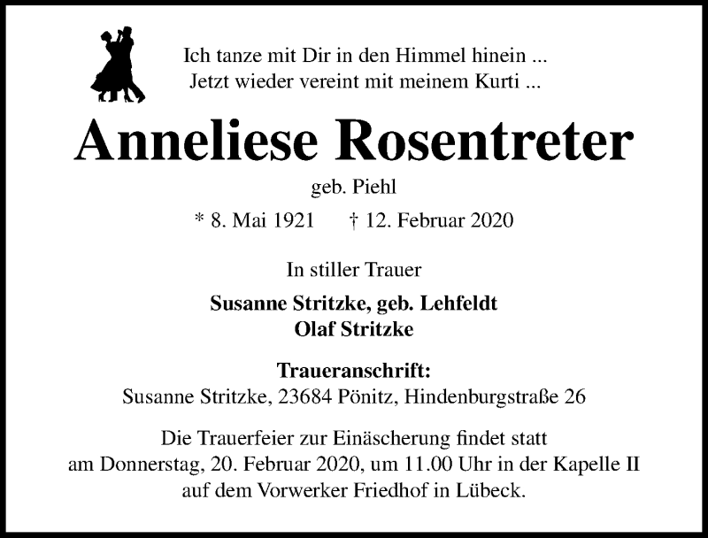 Traueranzeige von  Anneliese Rosentreter