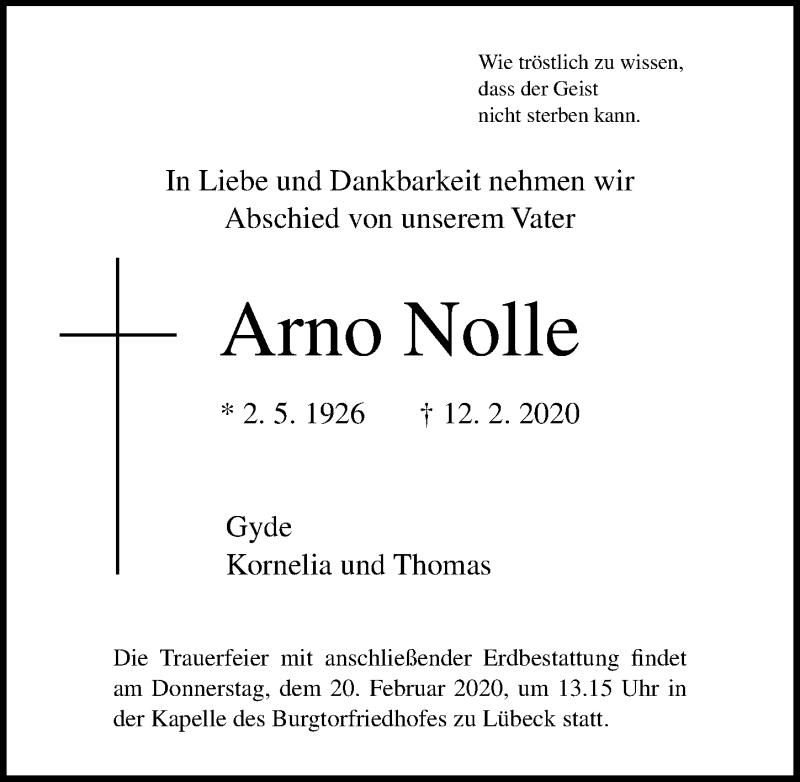 Traueranzeige von  Arno Nolle
