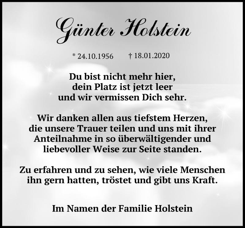 Traueranzeige von  Günter Holstein