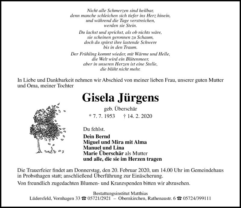 Traueranzeige von  Gisela Jürgens