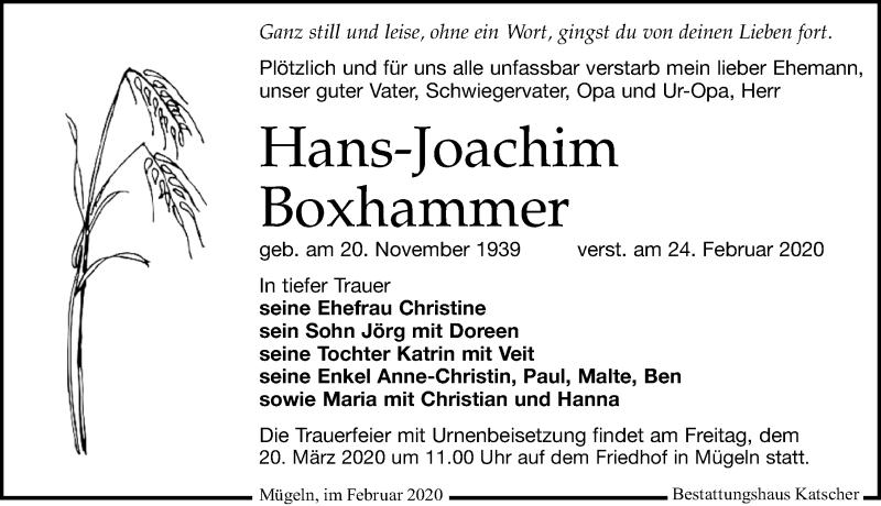 Traueranzeige für Hans-Joachim Boxhammer vom 29.02.2020 aus Leipziger Volkszeitung