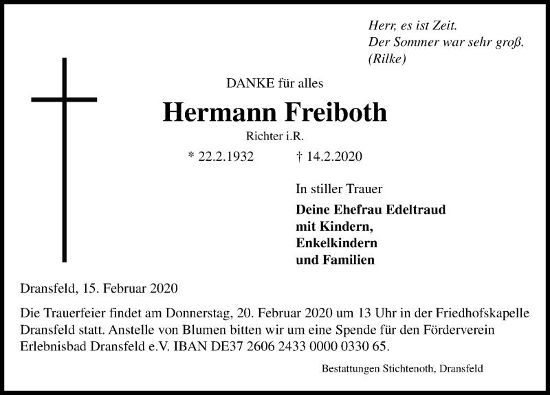 Traueranzeige von  Hermann Freiboth