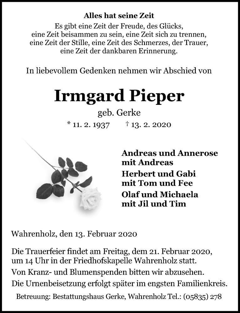 Traueranzeige von  Irmgard Pieper