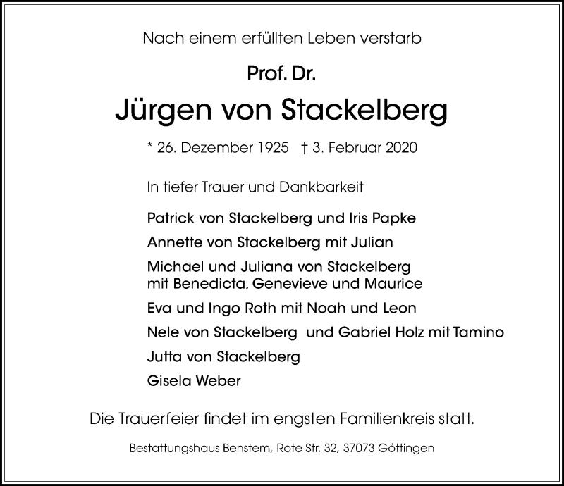 Traueranzeige für Jürgen von Stackelberg vom 15.02.2020 aus Göttinger Tageblatt