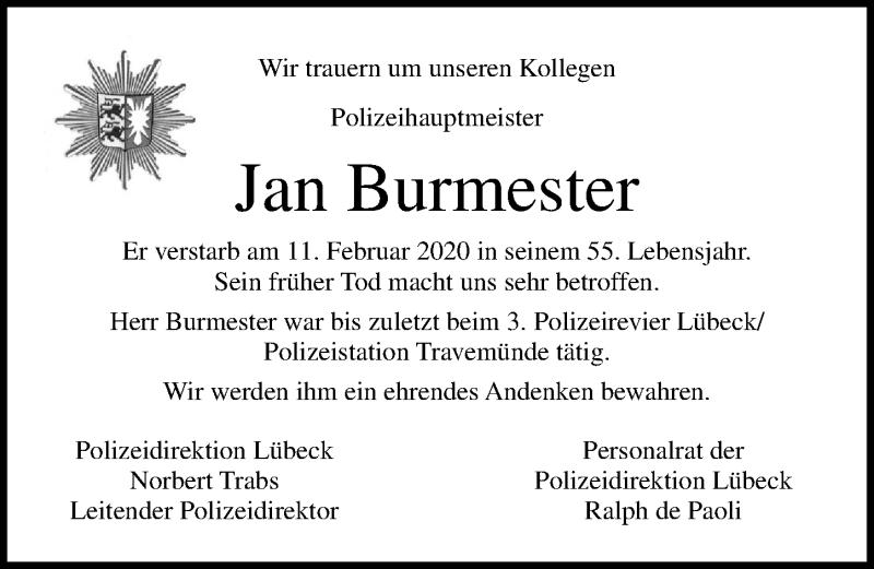 Traueranzeige von  Jan Burmester