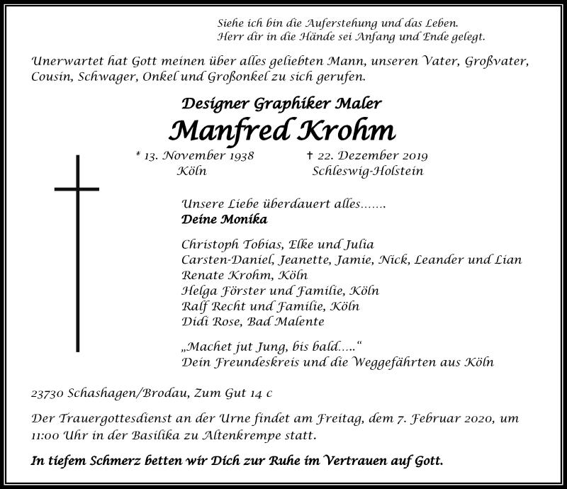 Traueranzeige für Manfred Krohm vom 02.02.2020 aus Lübecker Nachrichten