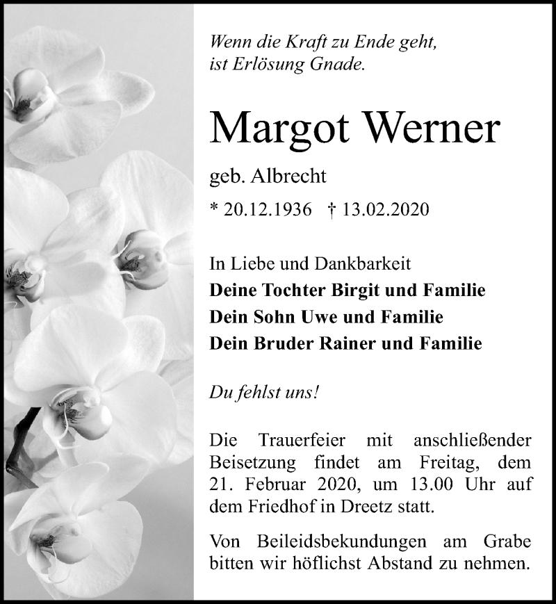 Traueranzeige von  Margot Werner