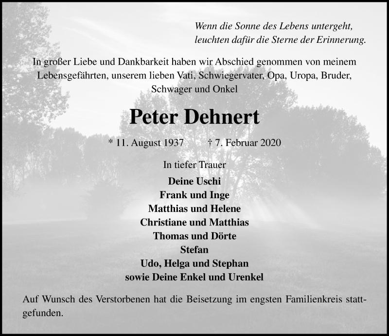 Traueranzeige für Peter Dehnert vom 23.02.2020 aus Lübecker Nachrichten