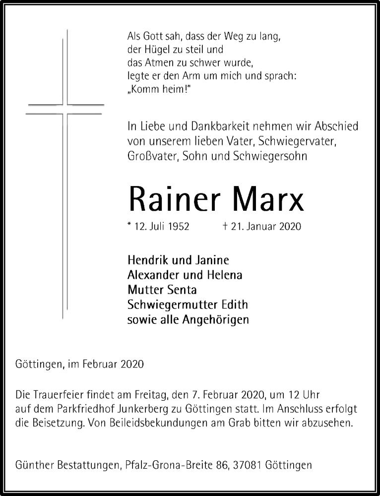 Traueranzeige für Rainer Marx vom 01.02.2020 aus Göttinger Tageblatt
