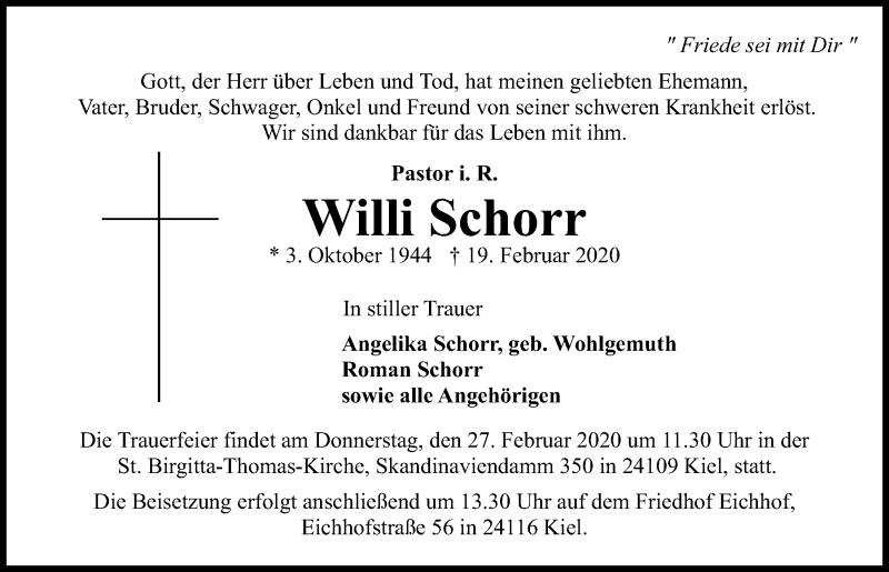 Traueranzeige für Willi Schorr vom 25.02.2020 aus Kieler Nachrichten
