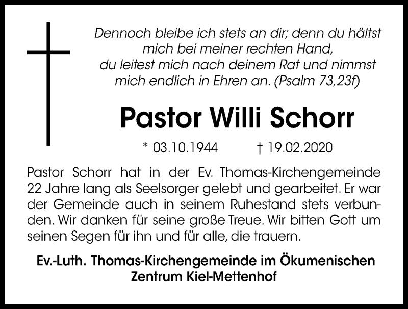 Traueranzeige für Willi Schorr vom 27.02.2020 aus Kieler Nachrichten