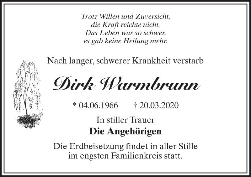 Traueranzeige für Dirk Warmbrunn vom 25.03.2020 aus Märkischen Allgemeine Zeitung