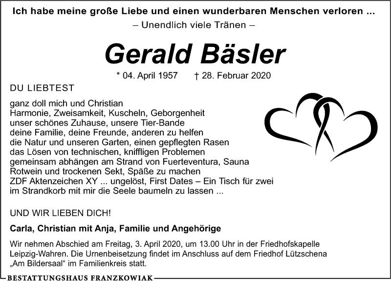 Traueranzeige für Gerald Bäsler vom 14.03.2020 aus Leipziger Volkszeitung