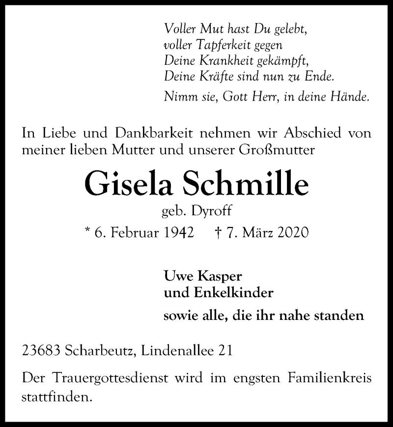 Traueranzeige für Gisela Schmille vom 14.03.2020 aus Lübecker Nachrichten